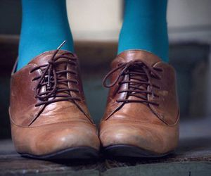 shoes, brown, and blue image