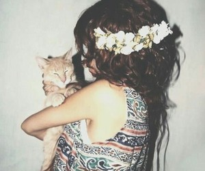 cat, girl, and flowers image