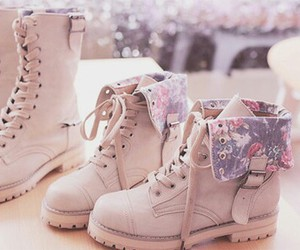 boots, floral print, and shoes image