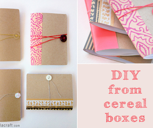 diy, journal, and cereal box cardboard image