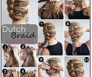 hair, tutorial, and dutch braid image