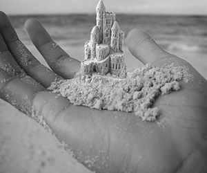 castle, sand, and hand image