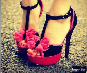 flowers, heels, and platform shoes image