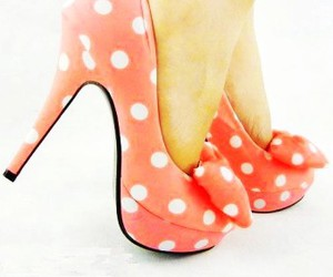 bows, coral, and heels image