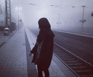 alone, fog, and girl image