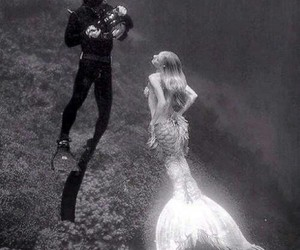 mermaid, sea, and black and white image