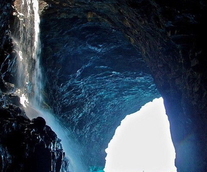 water, cave, and waterfall image