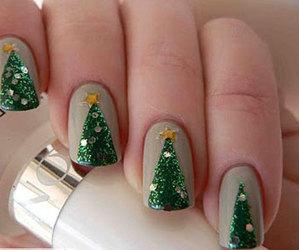 nails, christmas, and christmas tree image