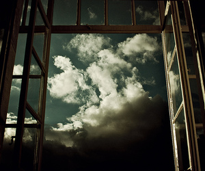 clouds, window, and sky image