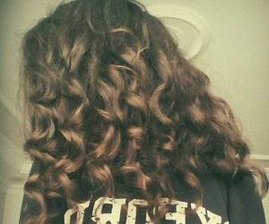 brown, curl, and hair image