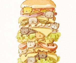 art, cats, and food image