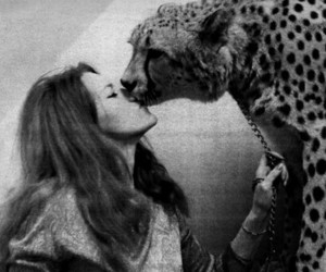 girl, kiss, and leopard image