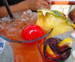 drink, cherry, and pineapple image