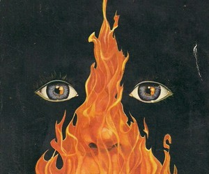 fire, eyes, and art image