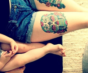 tattoo, skull, and baby image