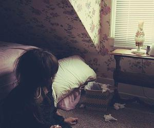 girl, alone, and room image