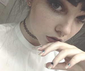 girl, pale, and piercing image