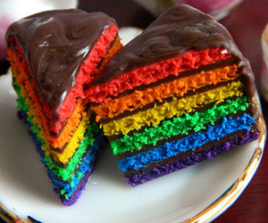 cake, food, and rainbow image