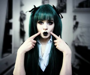 hair, goth, and green image
