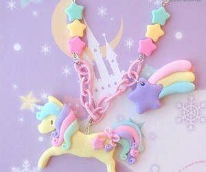 unicorn, necklace, and pastel image