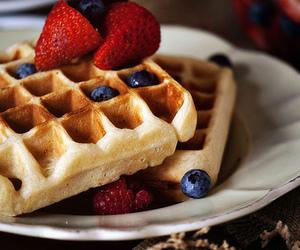 waffles, strawberry, and blueberry image