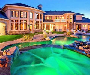 house, beautiful, and pool image