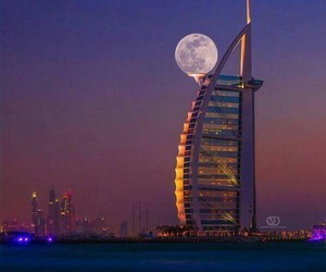 Dubai, moon, and night image
