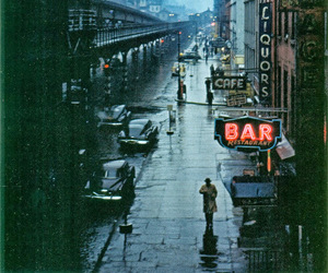 city, rain, and bar image