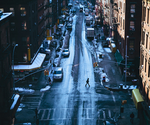 city, street, and winter image