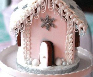 christmas, pink, and gingerbread house image