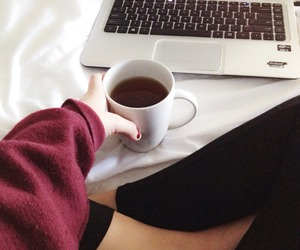 coffee, laptop, and bed image