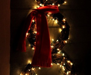 christmas, wreath, and lights.red ribbon image