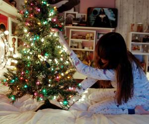 christmas, girl, and christmas tree image
