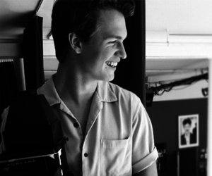 ansel elgort, tfios, and black and white image