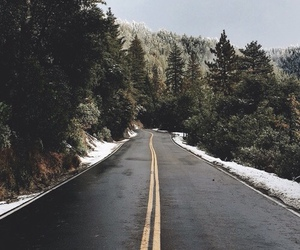 road, snow, and nature image