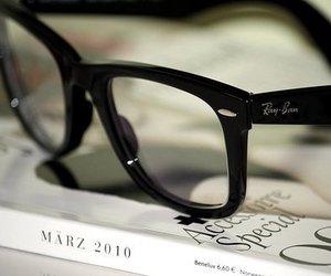 glasses, ray ban, and book image