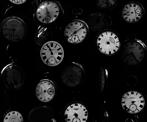 antique, black and white, and clocks image