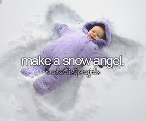 baby, angel, and snow image