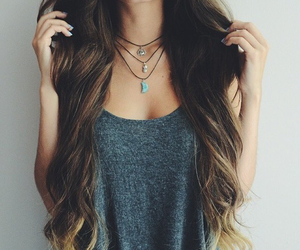 beauty, necklace, and tank top image