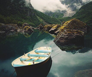 nature, mountains, and boat image