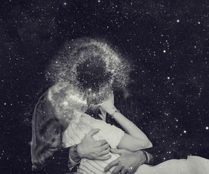 black and white, lovers, and stars image