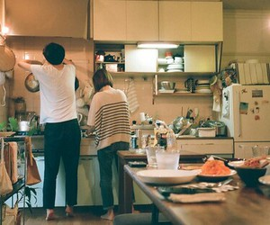 boy and girl, kitchen, and love image