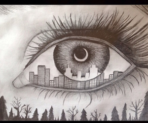 city, eye, and pencil image