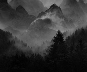 black and white, landscape, and moon image