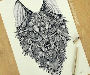 beautiful, mandala, and wolf image