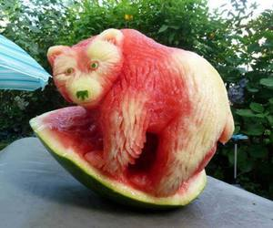 bear, watermelon, and art image