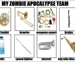 band, marching band, and zombie image