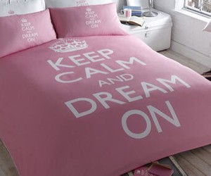 keep calm, pink, and bed image