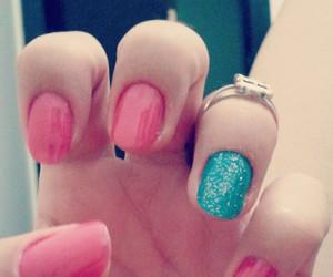 green, nail polish, and pink image