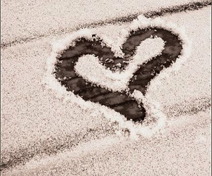 heart, snow, and love image